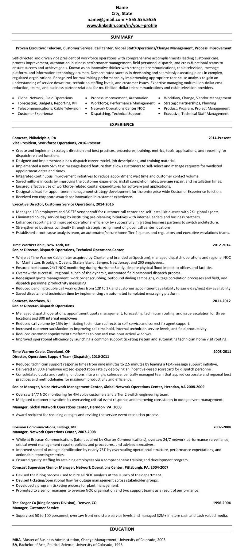 sample linkedin profile  u0026 resume  customer service  call