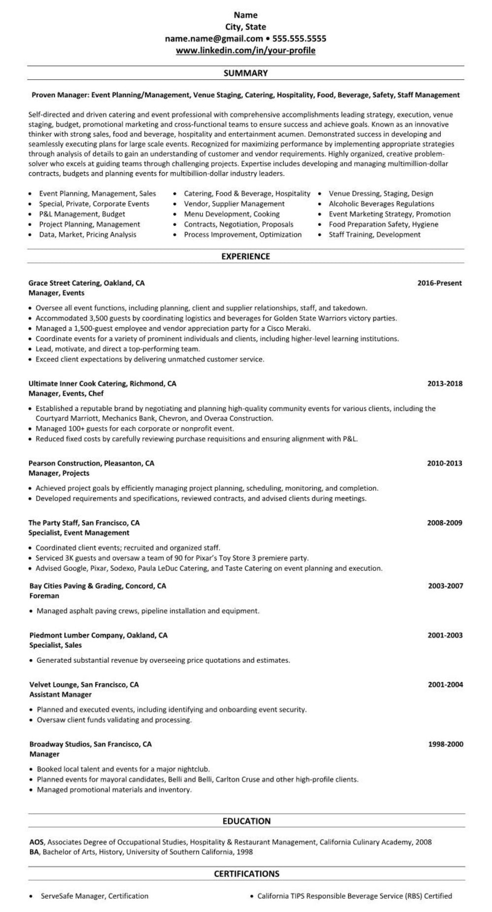 Professional executive resume example event planner management 2587