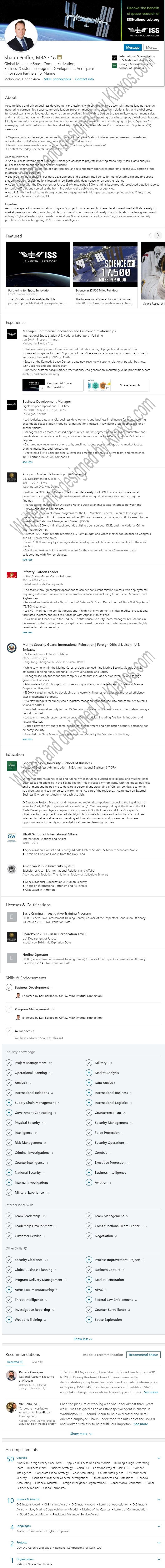 Linkedin profile example Aerospace space station commercialization Profile 1339 200416