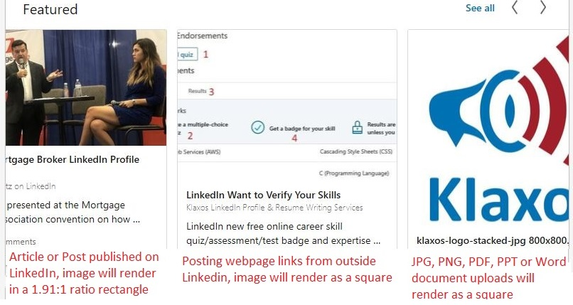 LinkedIn Featured Section Image/Photo Sizes Guide & Examples