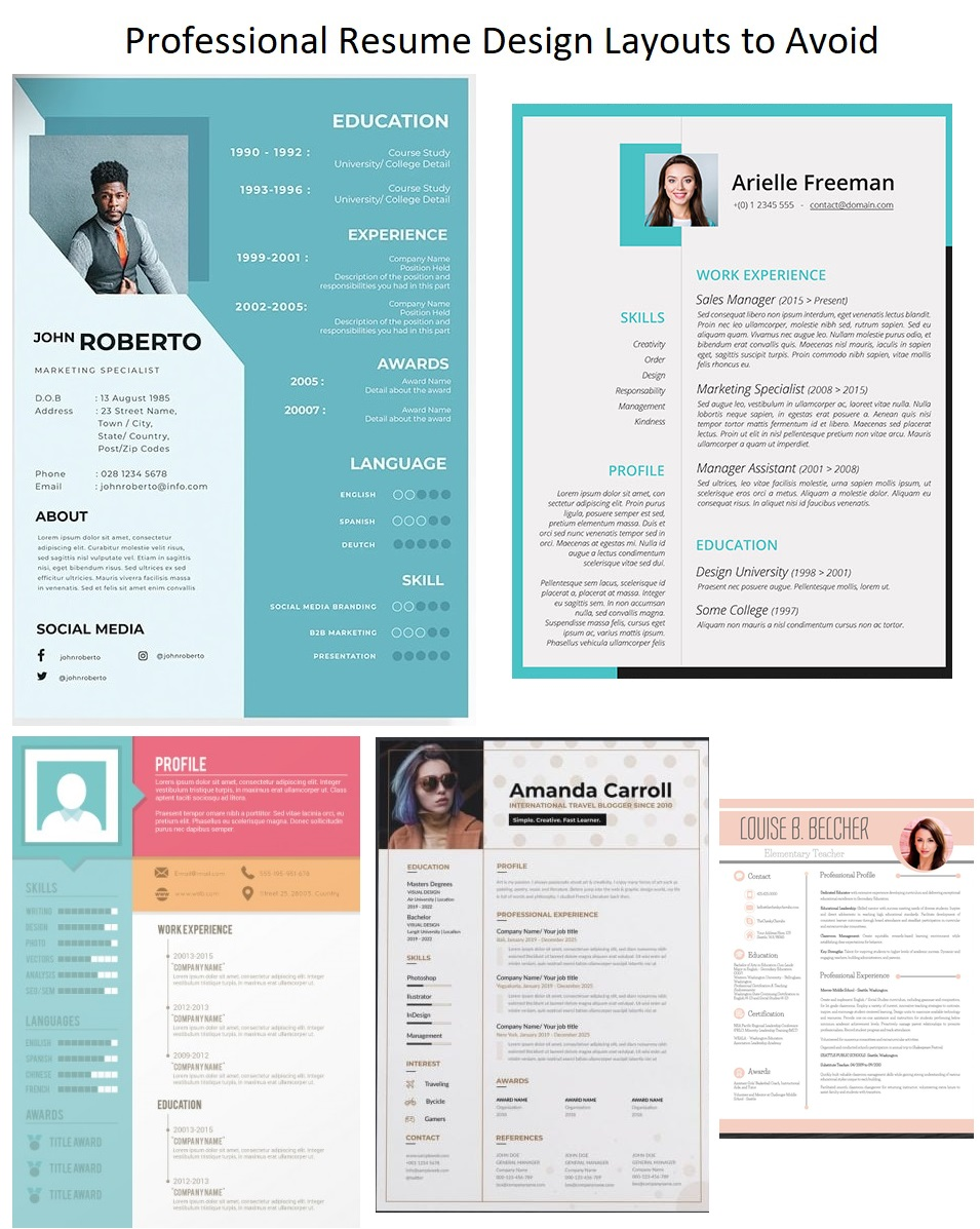 Professional Resume Design Layouts To Avoid Image