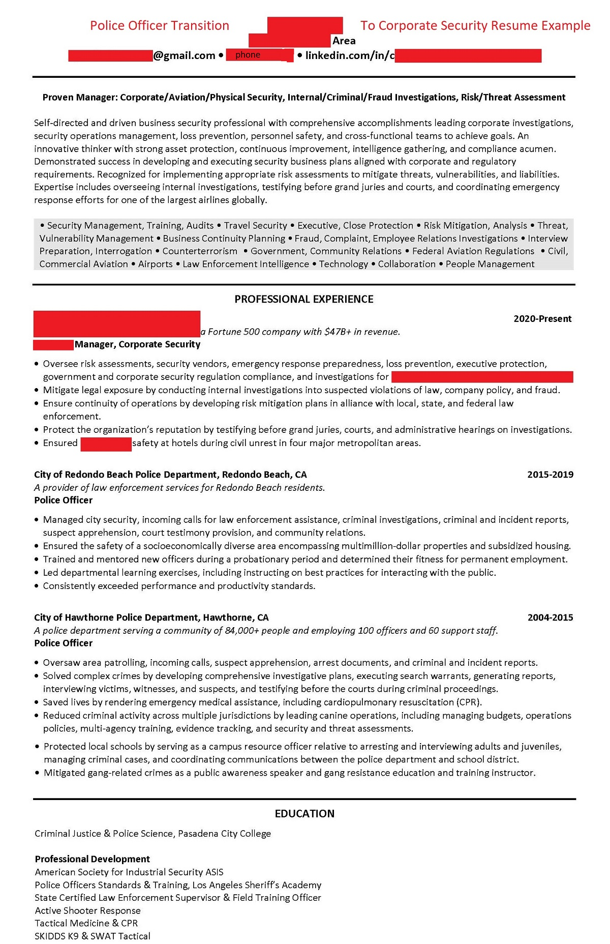 Resume Example Police Officer Transition