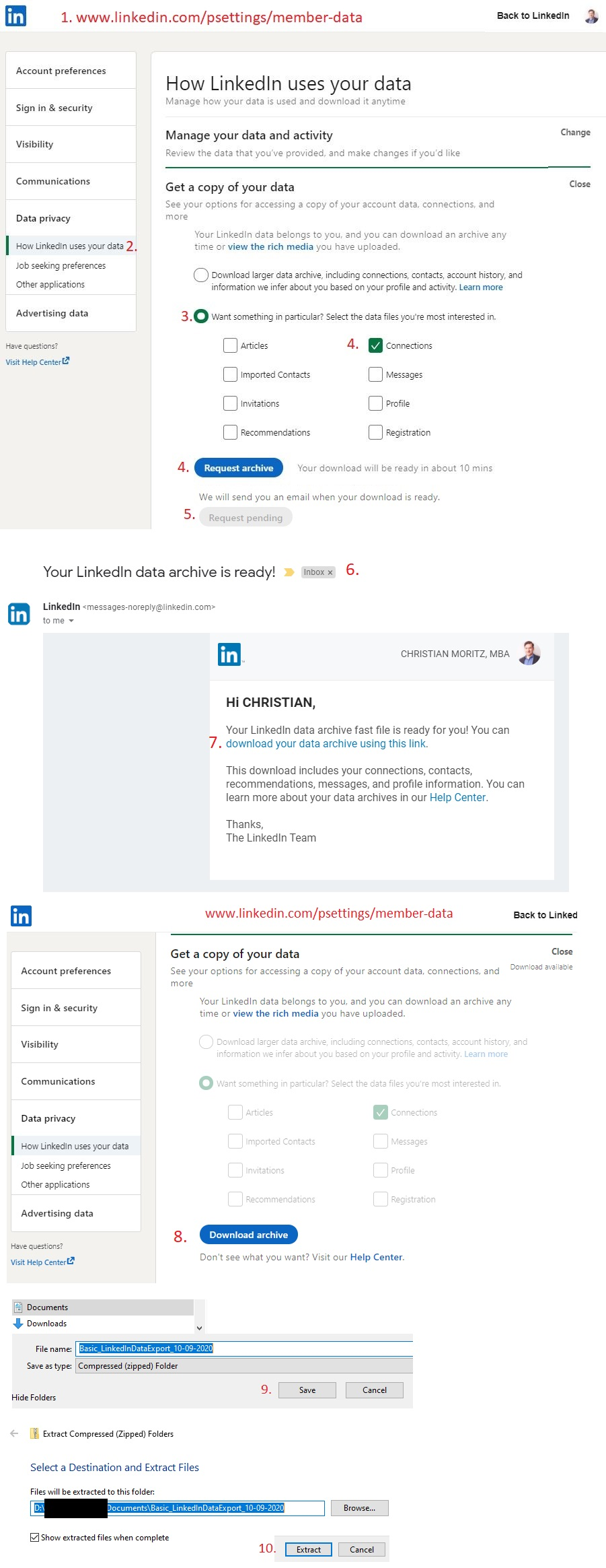 Linkedin Profile Export Connections List CRM 2020