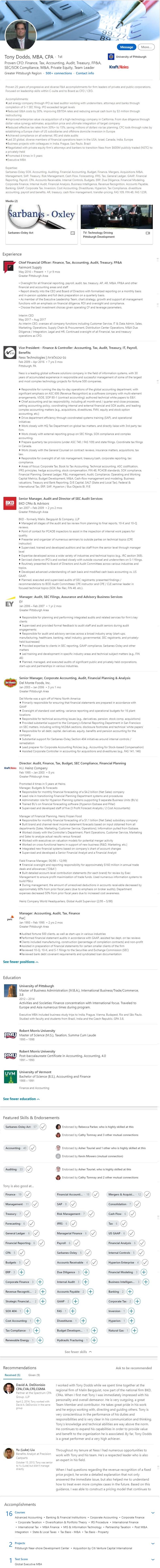 Linkedin Profile Example CFO Finance CPA Accounting