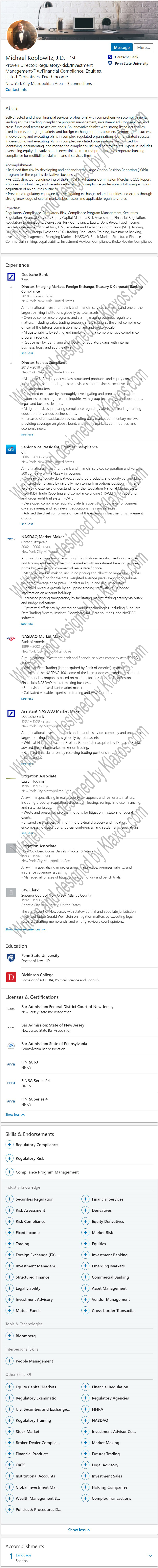Bank Card Products Linkedin Profile Example