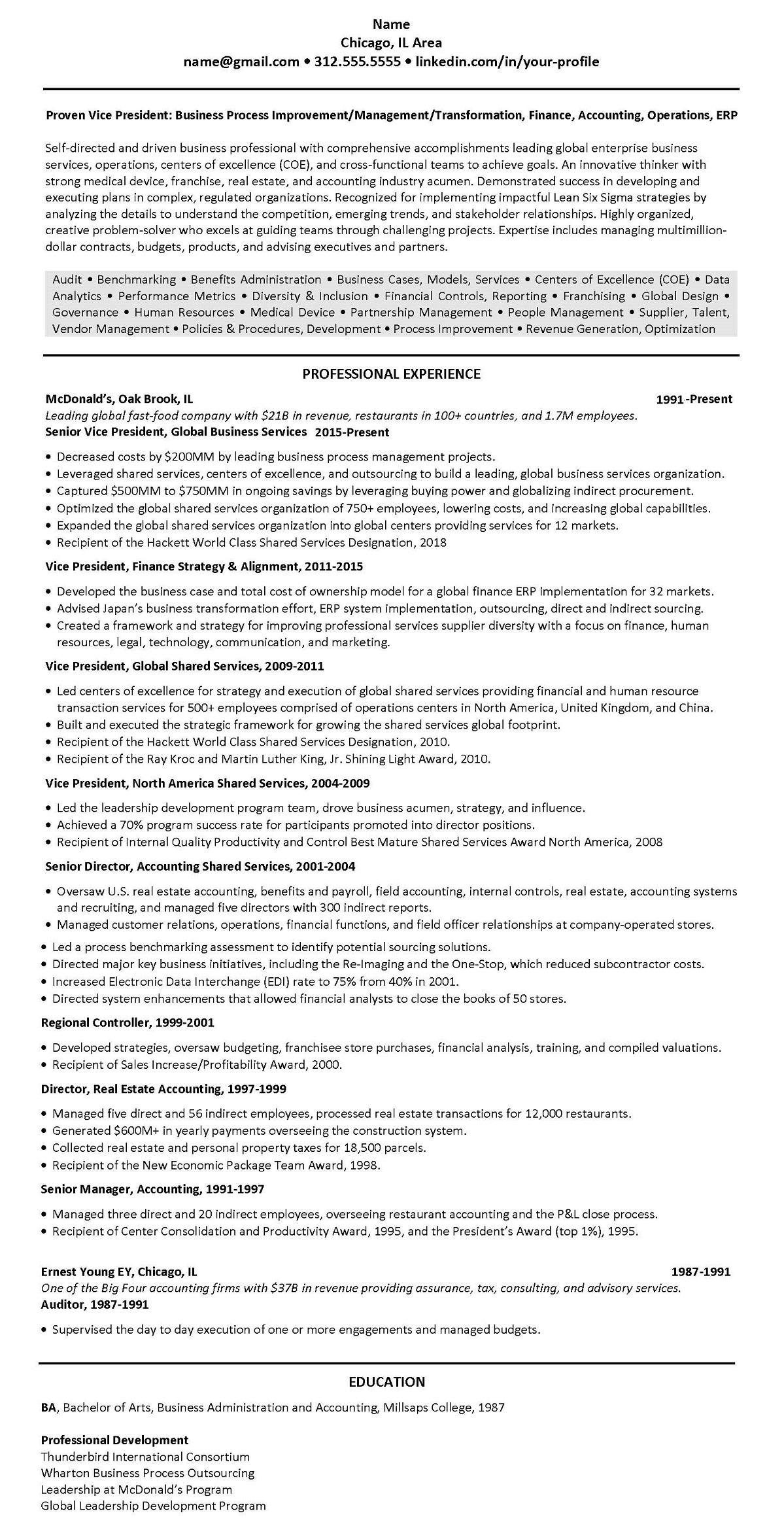 Resume 3203 Mcdonalds Ey Only